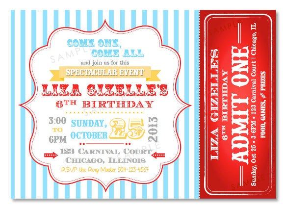 carnival birthday invitations 24