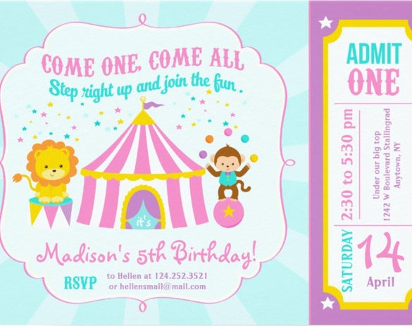pink circus carnival birthday party invitation card