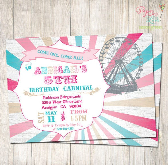 girly carnival birthday invitation vintage