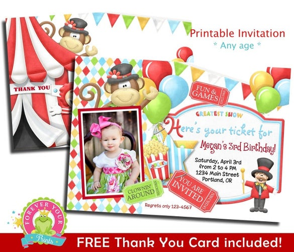 Girls Birthday Invitation Carnival Party Invite