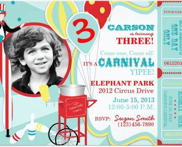 carnival circus stilt walker birthday party invitation card