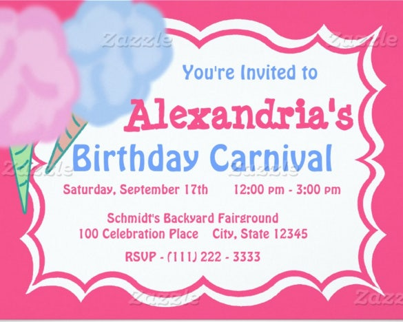 carnival birthday paper invitation card