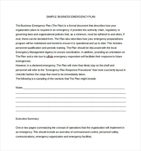 Emergency Plan Templates Free Sample Example Format - Business emergency plan template