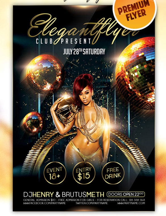 download sexy lady club flyer psd template