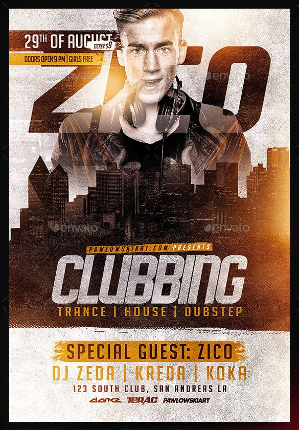 clubbing flyer template psd design download