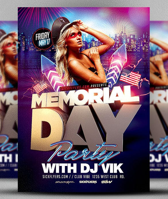 memorial day club party flyer template download