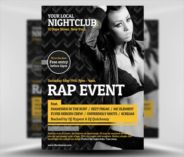 typographic club flyer template psd design download