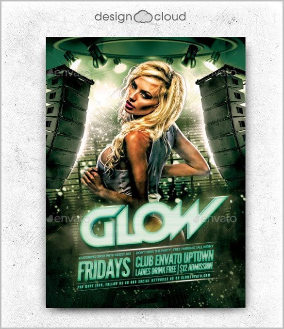 glow club flyer template psd design