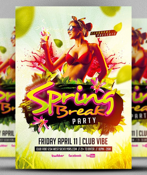 spring break party club flyer template download