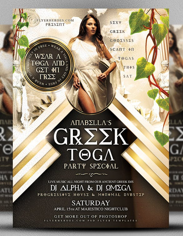 greek toga club flyer template download