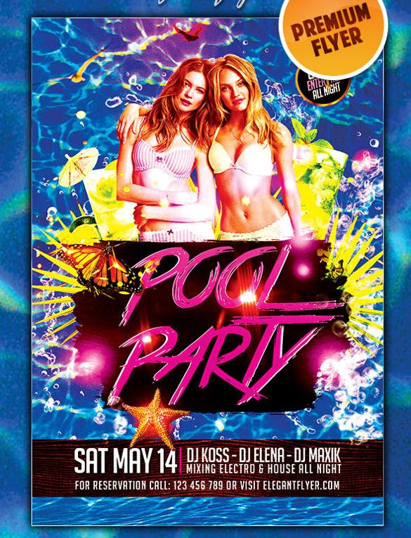 download pool party premium club flyer psd template