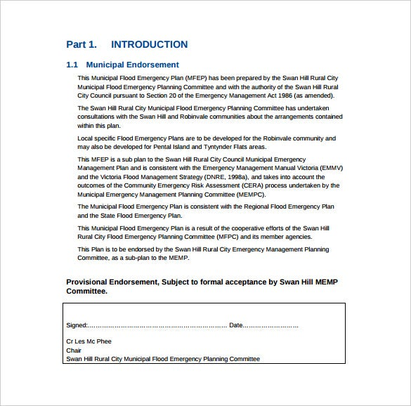 format of flood emergency plan template free download