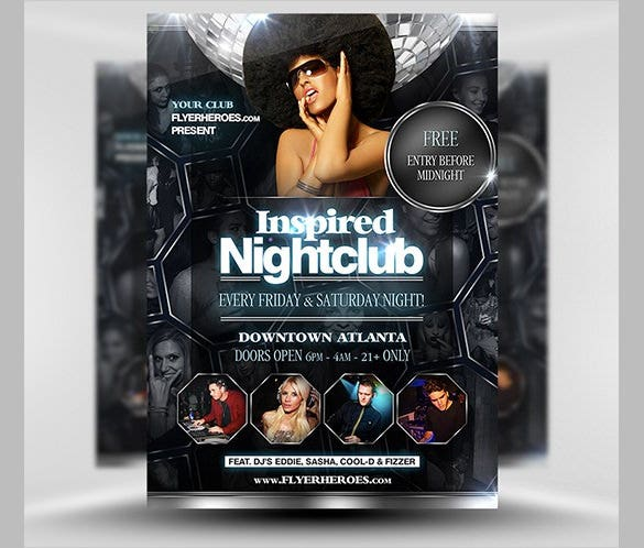 inspired nightclub flyer template psd download