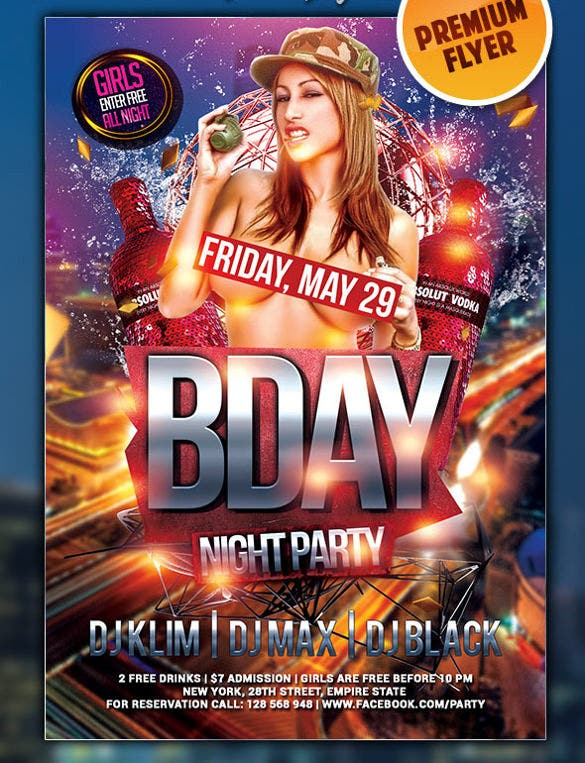 birth day bash download premium club flyer psd template