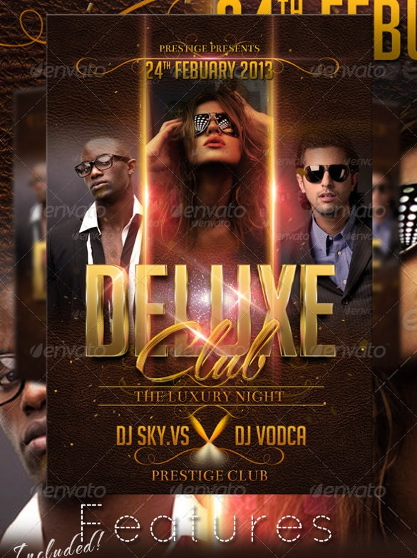 deluxe club flyer template psd design download