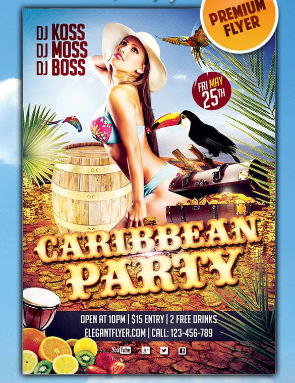 download caribbean party premium club flyer psd template