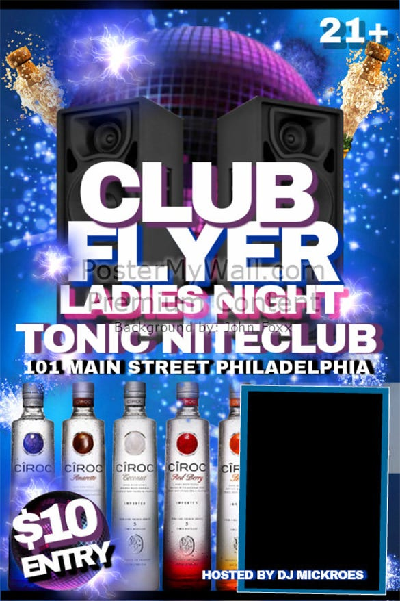 ladies night club flyer template free customize