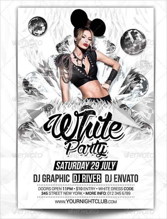 white party club flyer template psd download