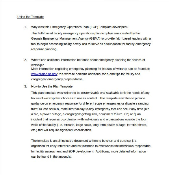 emergency operation plan Facilities management emergency operations plan page 3 section 1: introduction emergency preparedness is a shared responsibility every academic and.