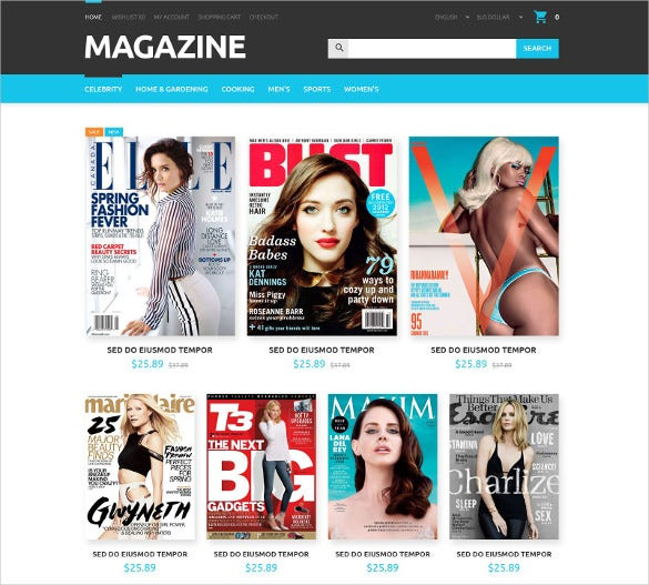 magazines store opencart website template