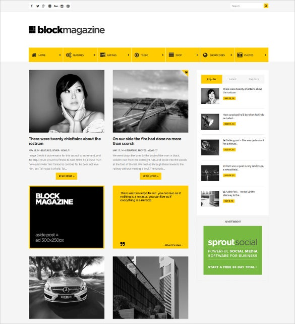 flat minimalist wordpress website blog theme