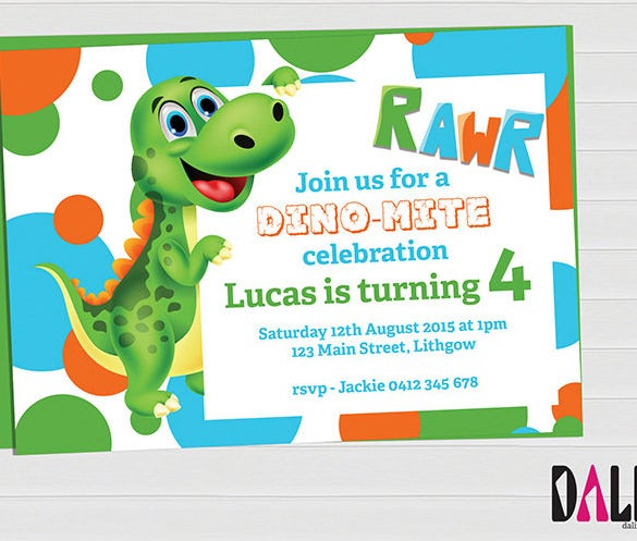 15 Dinosaur Birthday Invitations Free PSD Vector EPS AI – Free Printable Dinosaur Birthday Party Invitations