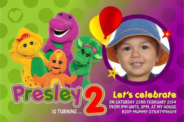 personalised birthday invitations barney the dinosaur x 5