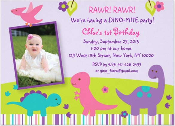 girl dinosaur birthday invitations