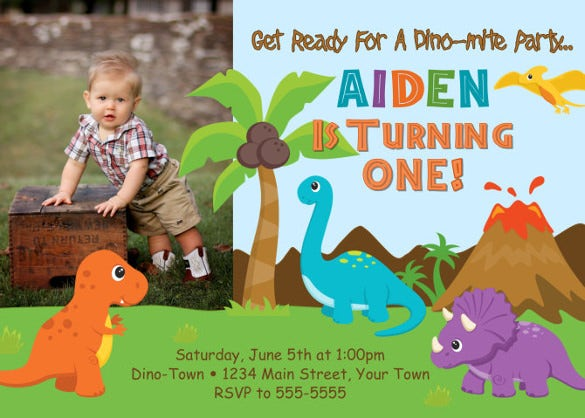 dinosaur birthday invitation digital file