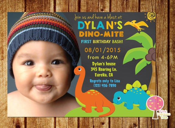 baby boy first birthday party dinosaur invitation