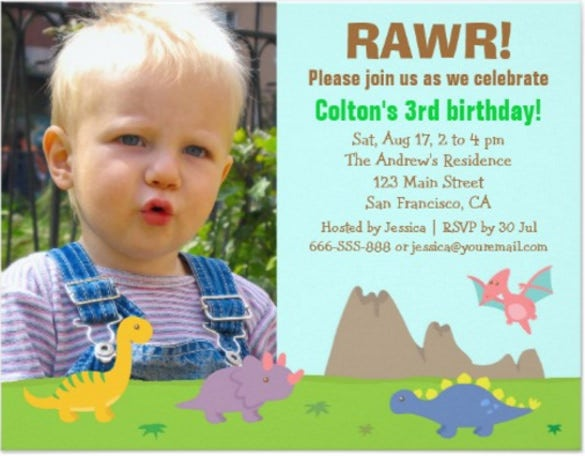 photo colourful dinosaur birthday party paper invitation card