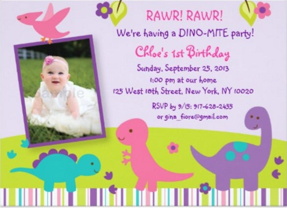 rawri girl dinosaur birthday invitations