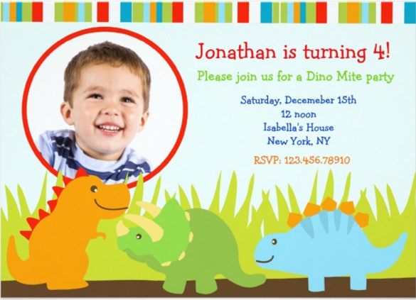 blue dinosaur birthday invitations