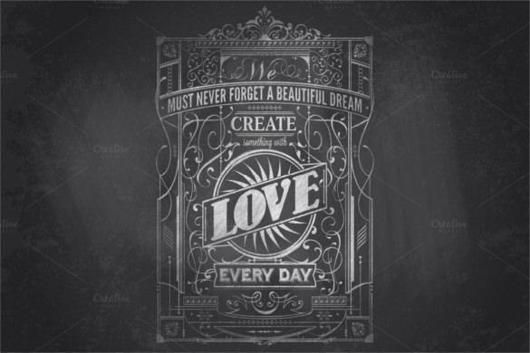 typography chalkboard print