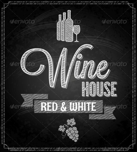 wine menu design chalkboard background