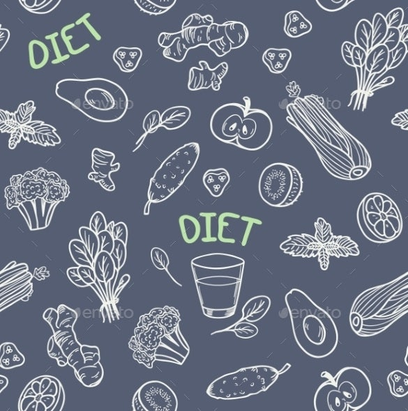 chalk style vegetables seamless pattern
