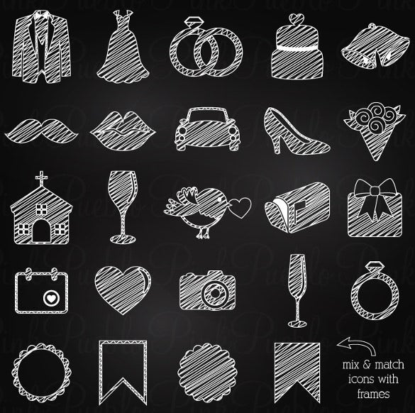 Chalkboard Wedding Icons Background Design