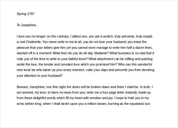 napoleon bonaparte famous love letter word format