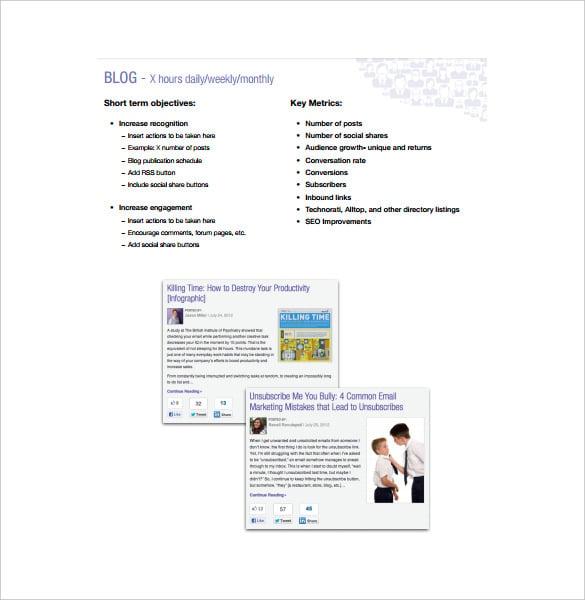 9 social media marketing plan templates free sample example
