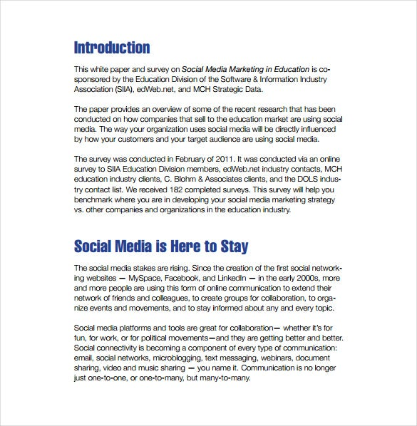 format of social media marketing plan in education free download
