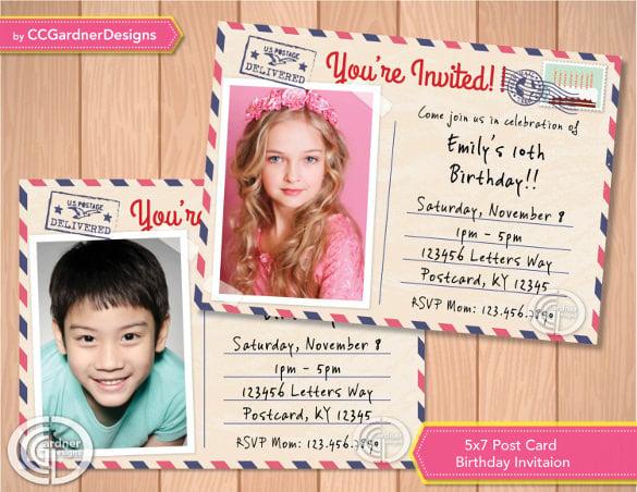 photo post card birthday invite boy or girl photo post card birthday invitation