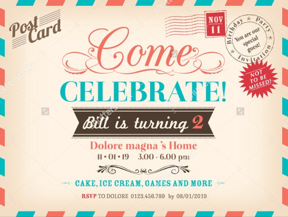 14+ post card birthday invitations – free psd, vector eps, ai, Birthday invitations