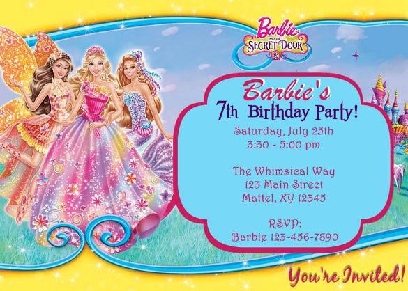 barbie and the secret door party invitation