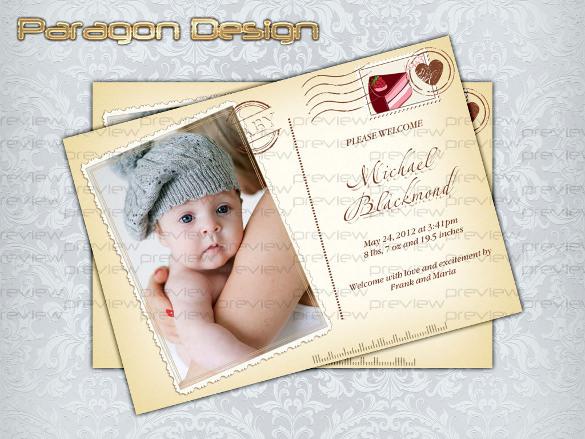 photo postcard custom birth announcement birthday invitation