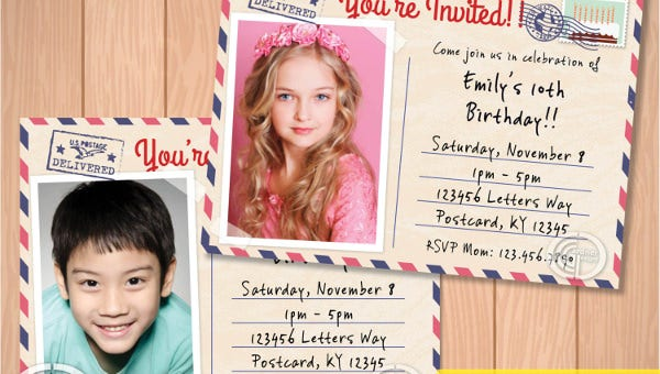 12 Post Card Birthday Invitations Free PSD Vector EPS AI Format Download