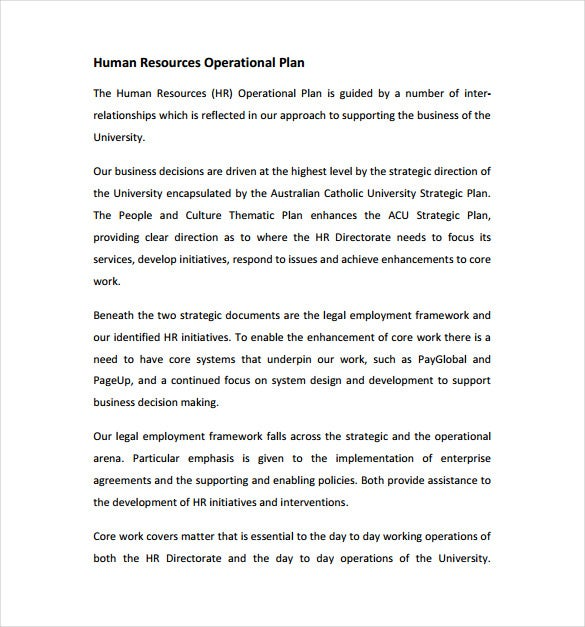 human resources operational plan sample template free download