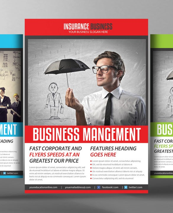 insurance business flyer template 3 psd file download