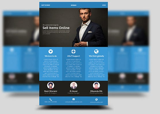 freebie flat business flyer template download