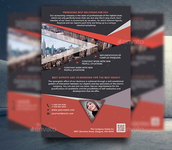 illustration business flyer template psd download