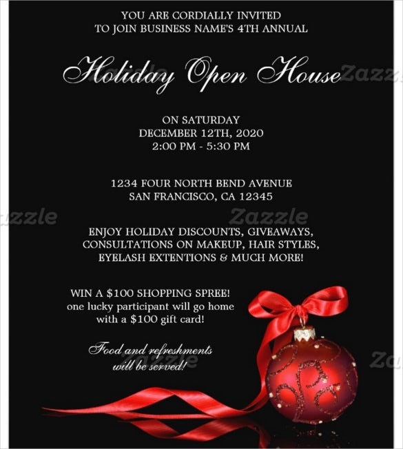 business and store holiday open house flyer template
